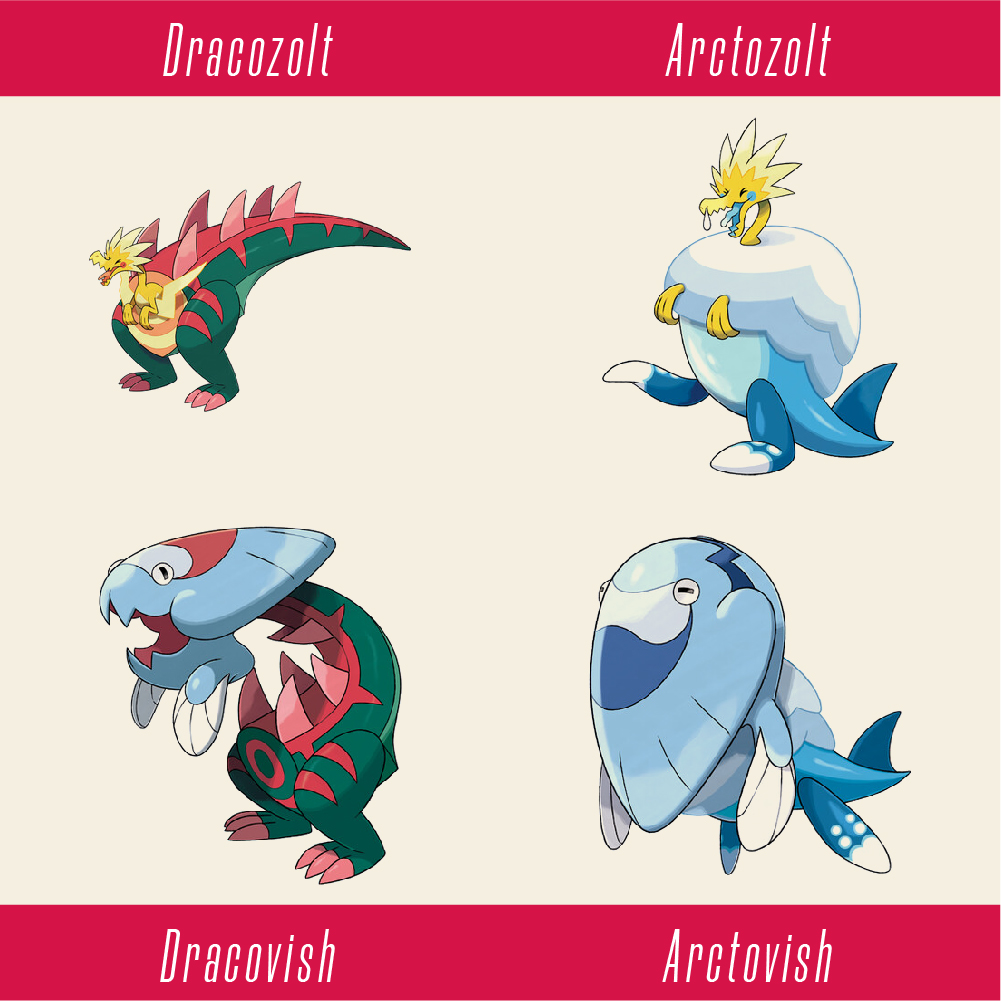 The four fossil Pokemon in Sword and Shield.