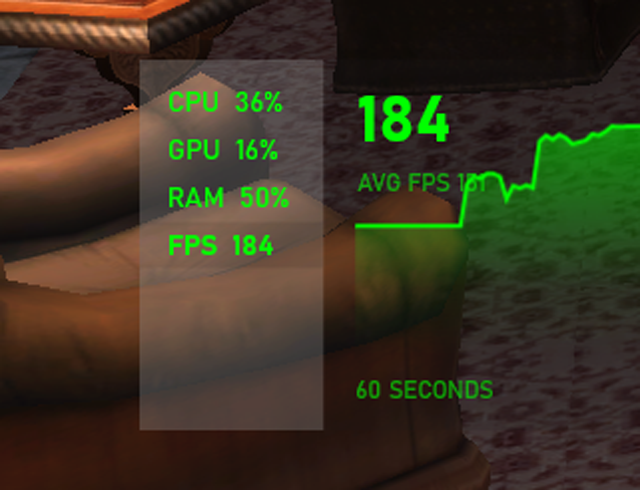 184 fps in game counter