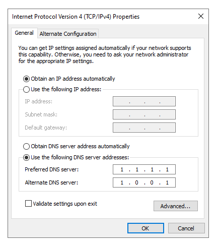 changing dns server windows 10